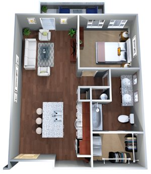 1 F Floor Plan, One bed with one bath, Discovery at the Realm (Castle Hills), 3600 Windhaven
