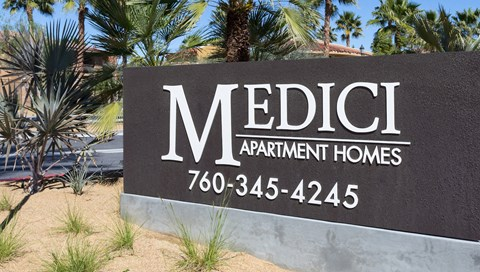 Medici Apartment Homes Exterior Front Sign