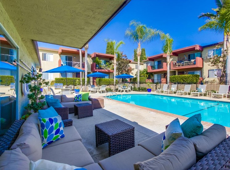 Outdoor poolside lounge - Mesa Vista Apartments