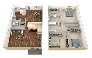 Three bedroom and two bathroom apartments