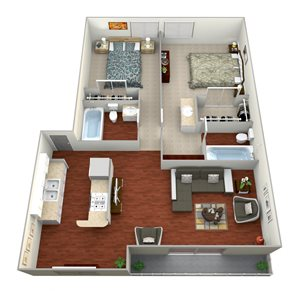 Two Bedroom and two bathroom apartment
