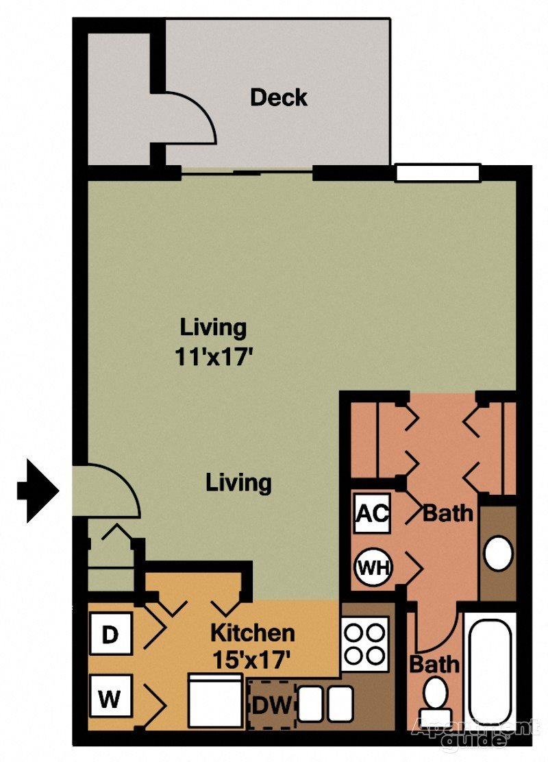 Studio 480 sqft Floor Plan 1