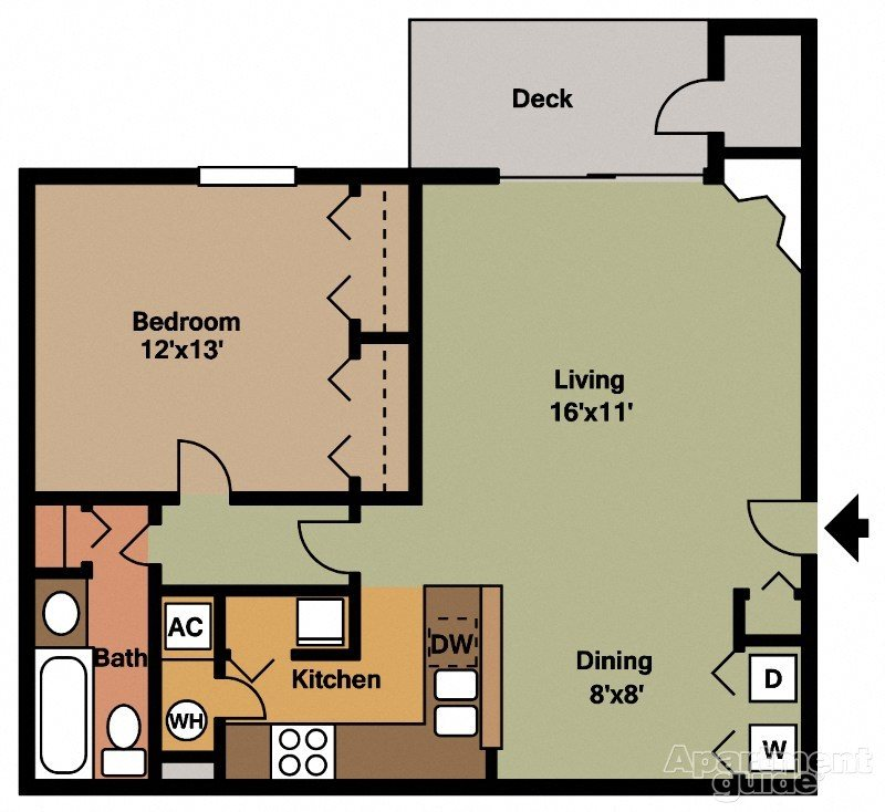 1x1-768sqft Floor Plan 3