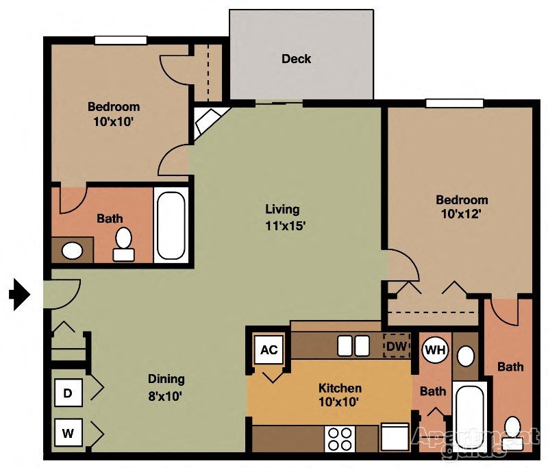 2x2 - 856sqft Floor Plan 4
