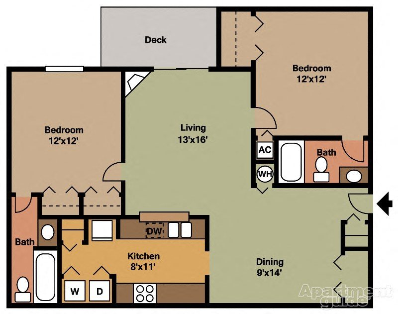 2x2 - 984sqft Floor Plan 5