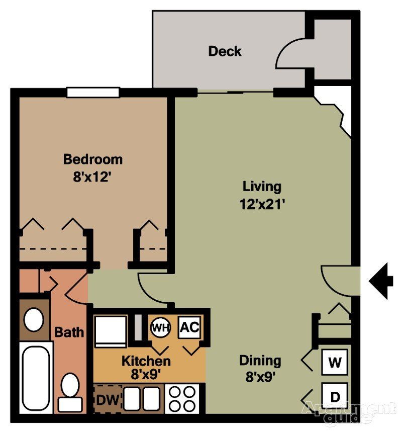 1x1 - 624sqft Floor Plan 2