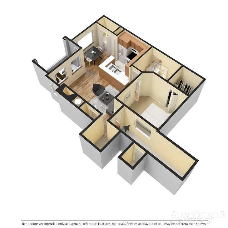 1 Bed/1 Bath Floor Plan 1