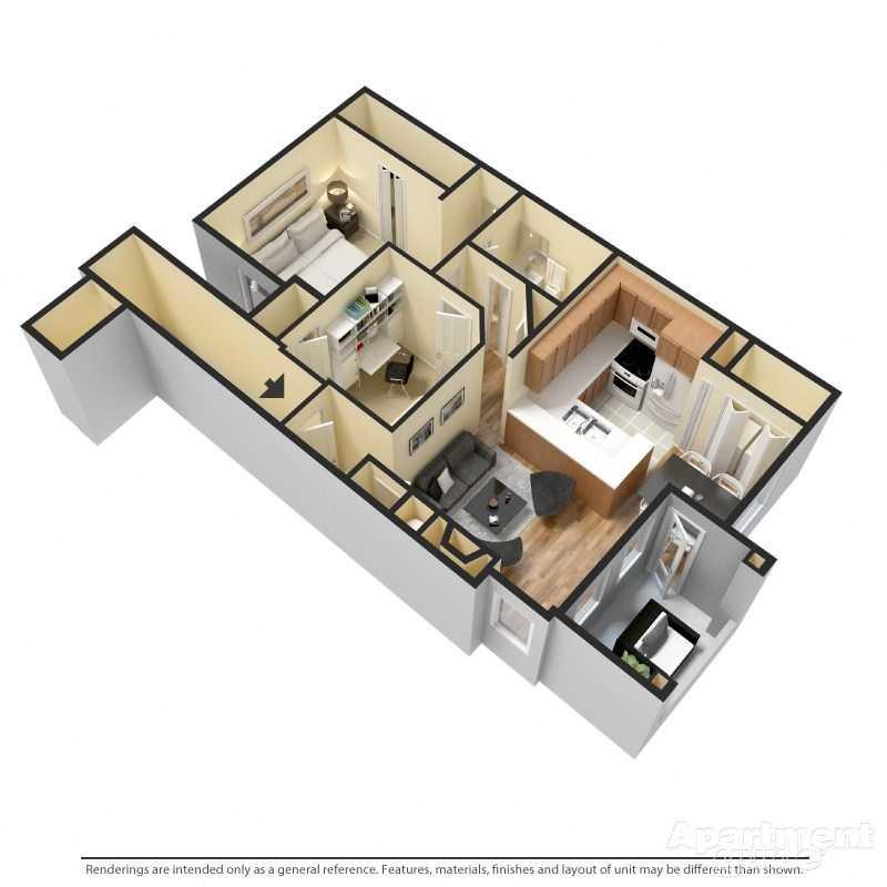 2 Bed/1 Bath Floor Plan 2