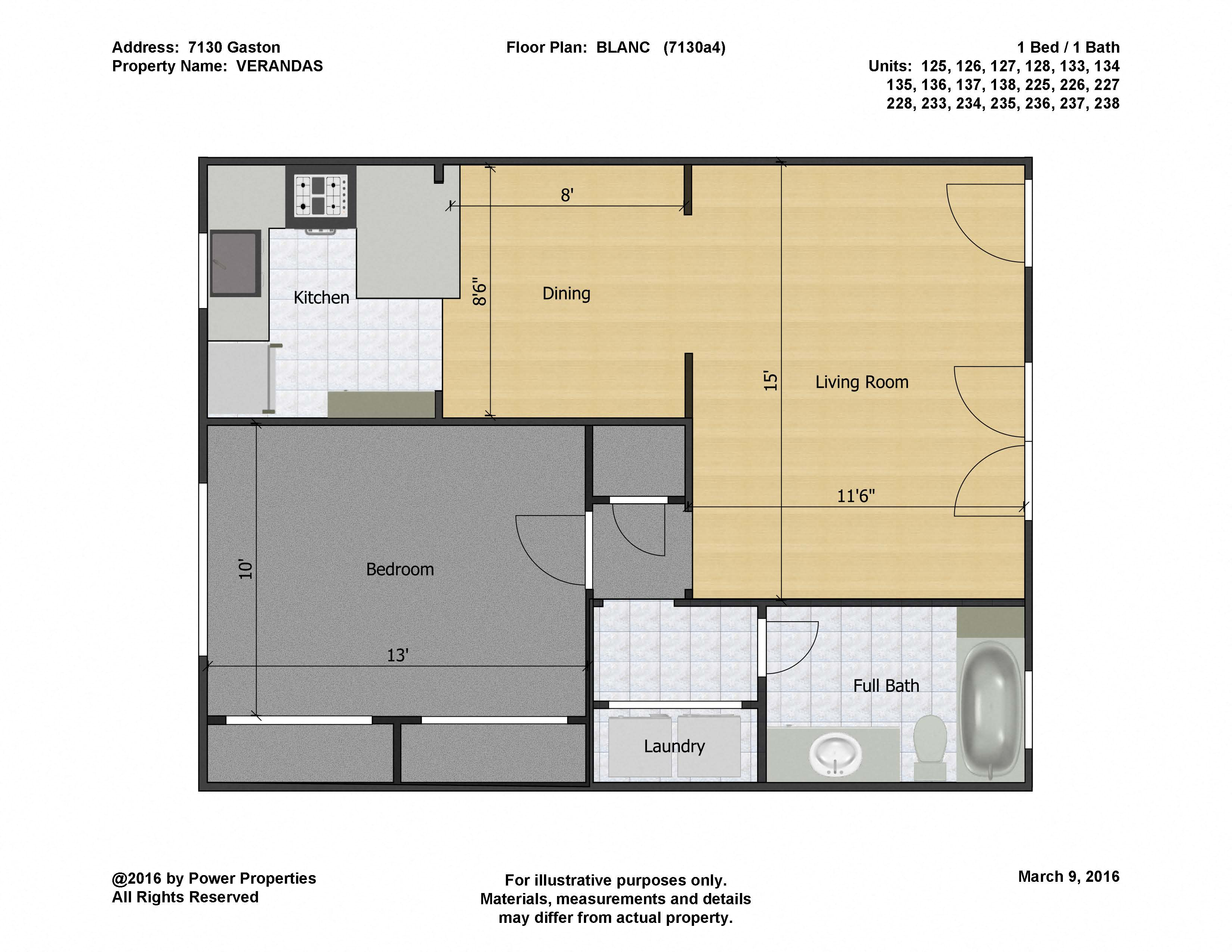 7130 Gaston VERANDAS - BLANC (1  Bed - 1 Bath)