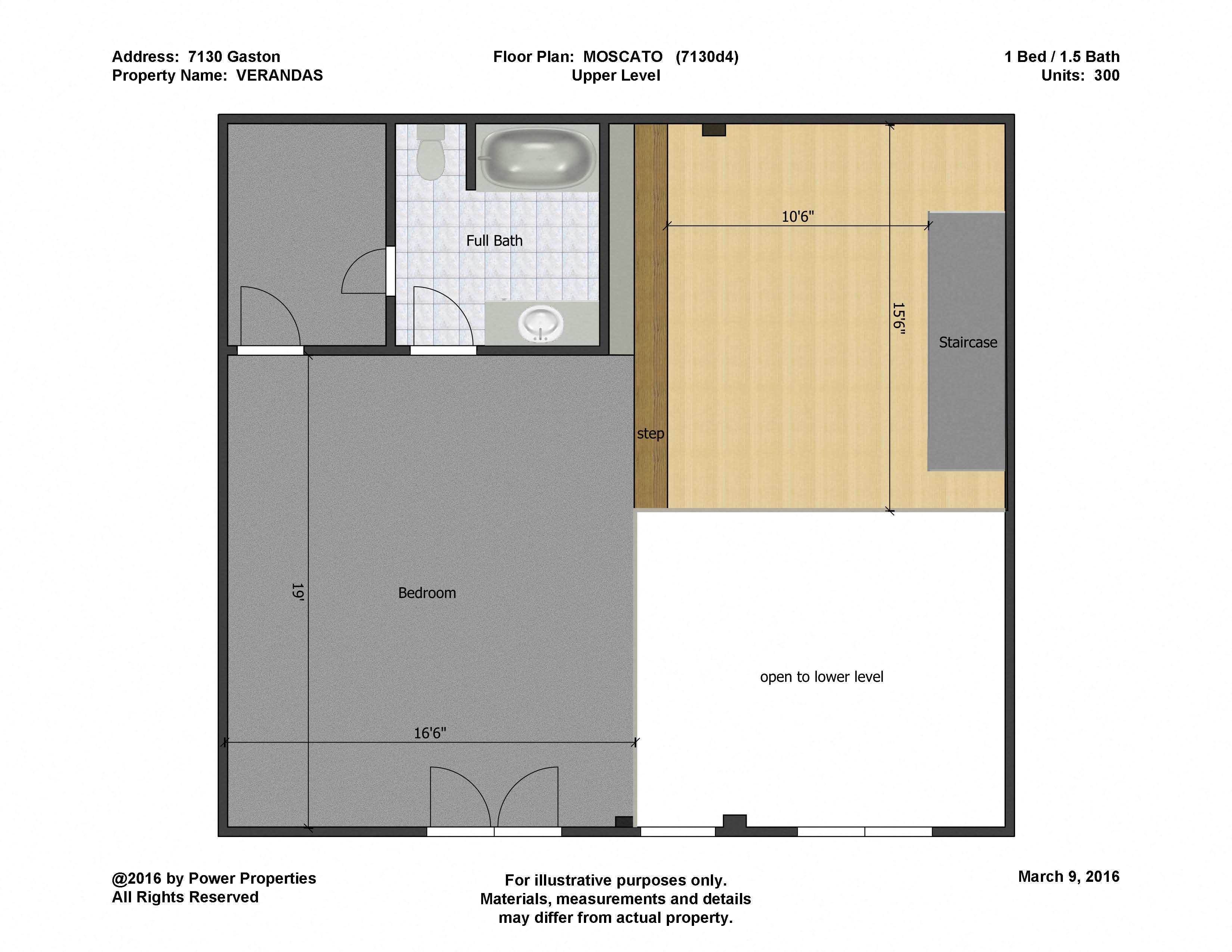 7130 Gaston VERANDAS - MOSCATO Lower Level (1 Bed - 2 Bath)