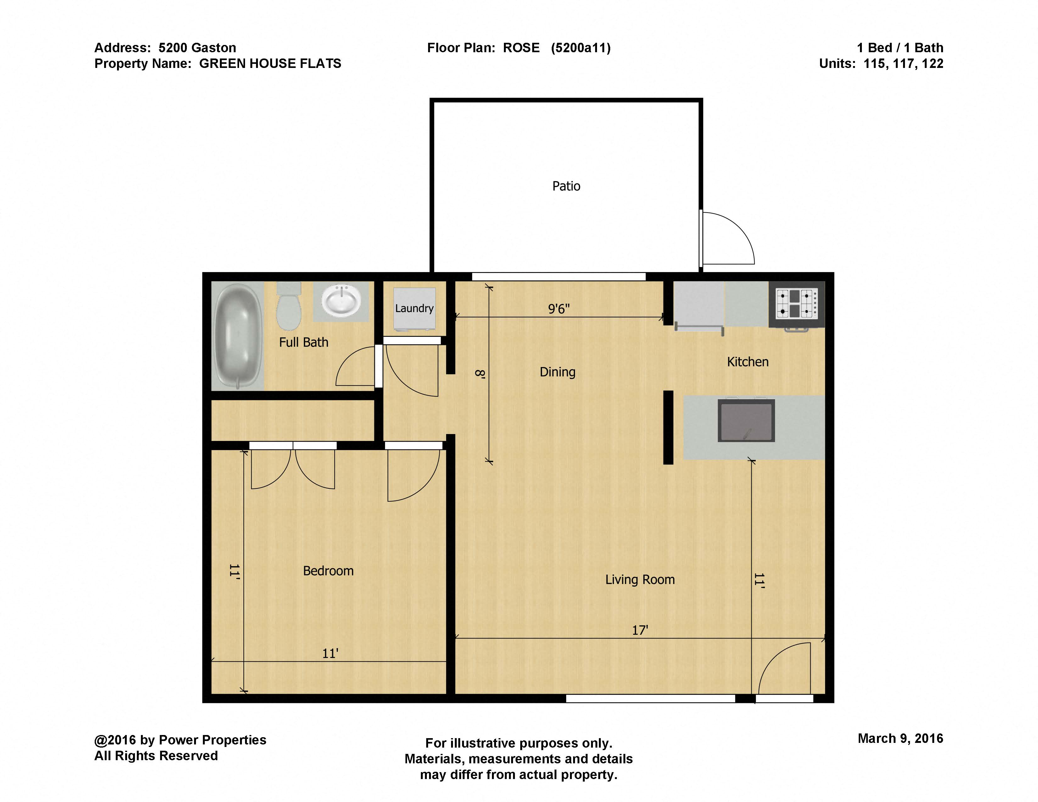 5200 Gaston GREEN HOUSE FLATS - ROSE (1 Bed - 1 Bath)