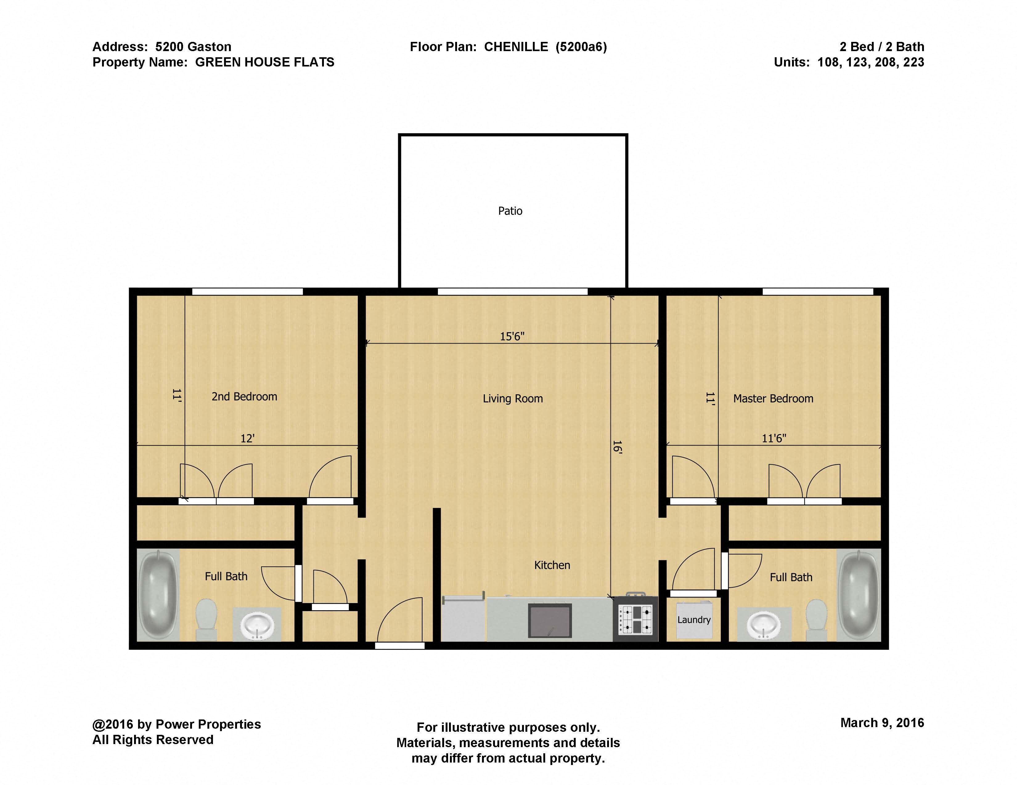 5200 Gaston GREEN HOUSE FLATS- CHENILLE (2 Bed - 2 Bath)