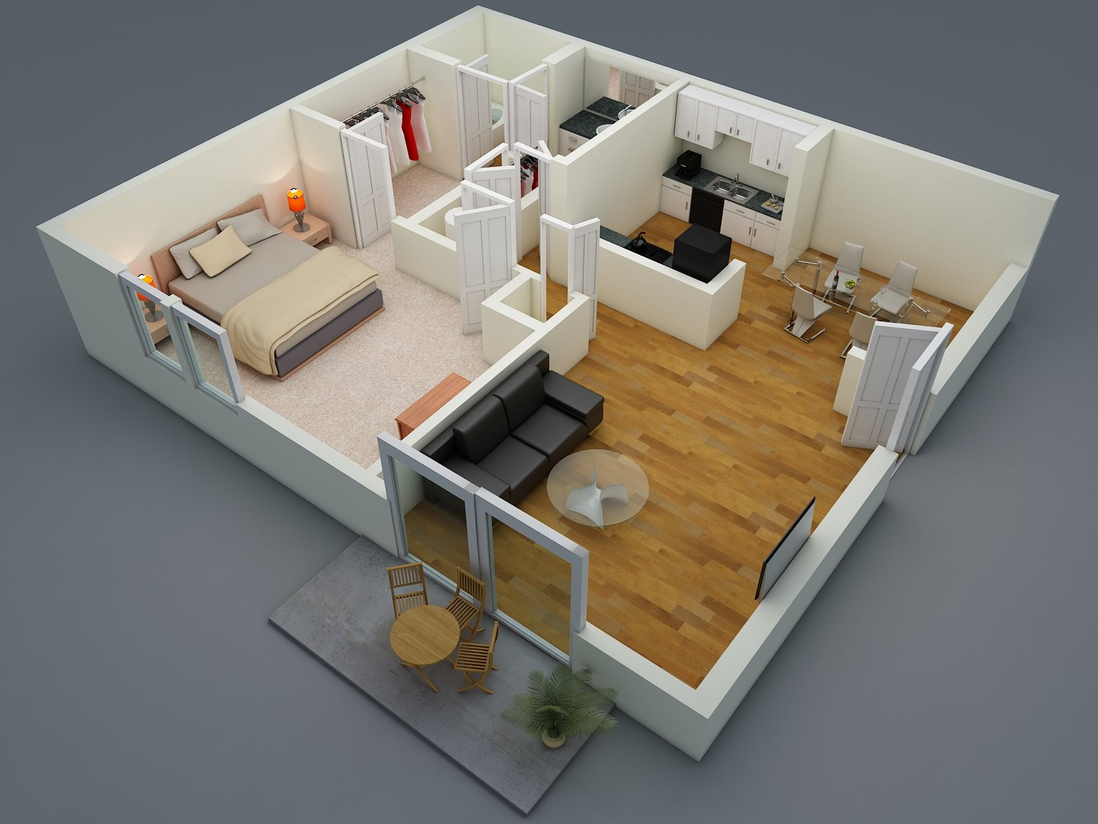 One Bed - One Bath - C1 Floor Plan 1