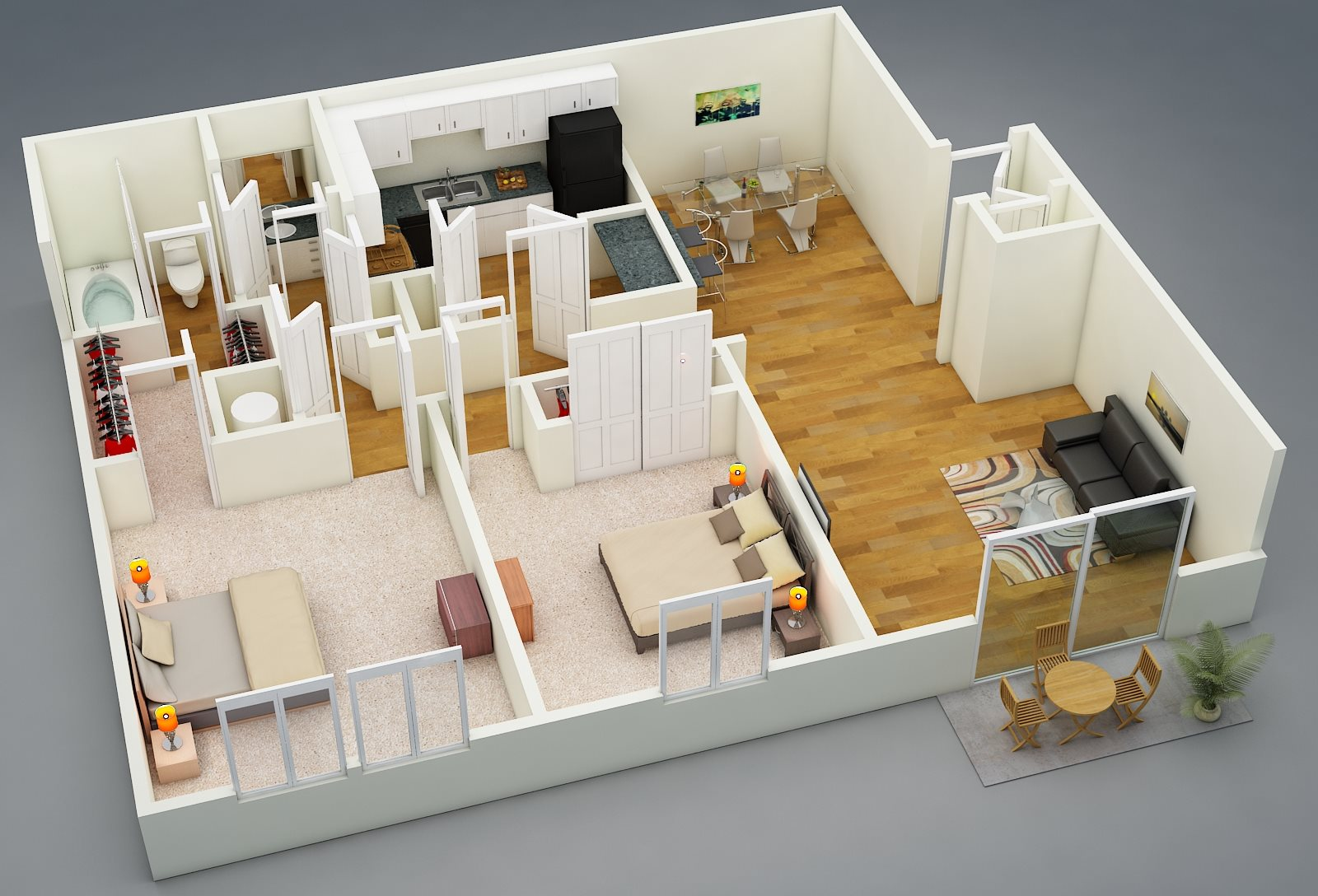Two Bed | One Bath | D1 Floor Plan 2
