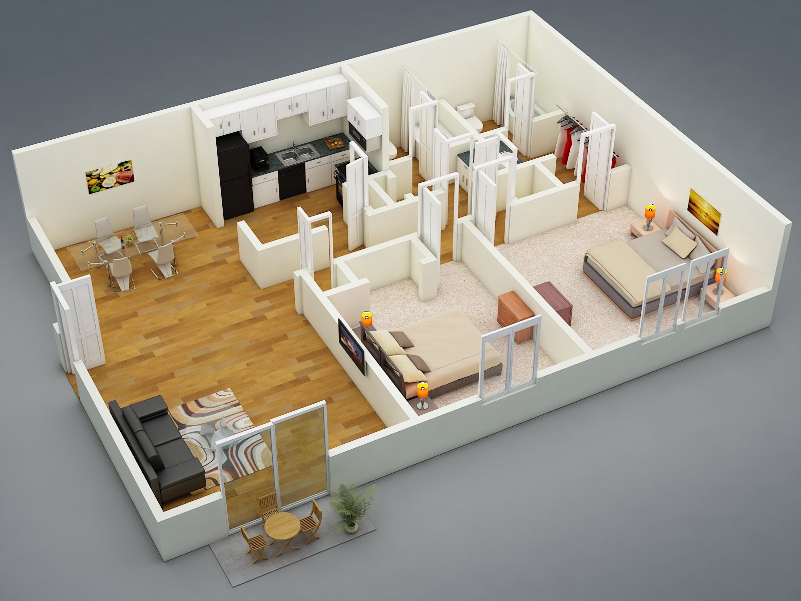 Two Bed - Two Bath - D2 Floor Plan 3