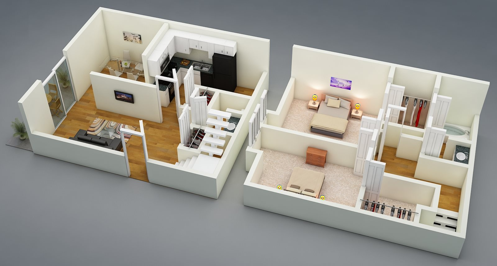 Two Bed | One + Half Bath | Townhome | D4 Floor Plan 5
