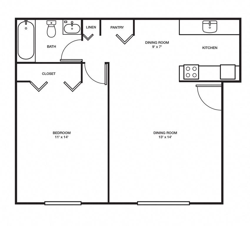 1 Bed, 1 Bath - 600 sq ft