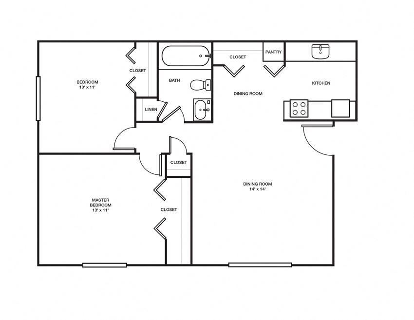 2 Bed, 1 Bath - 800 sq ft