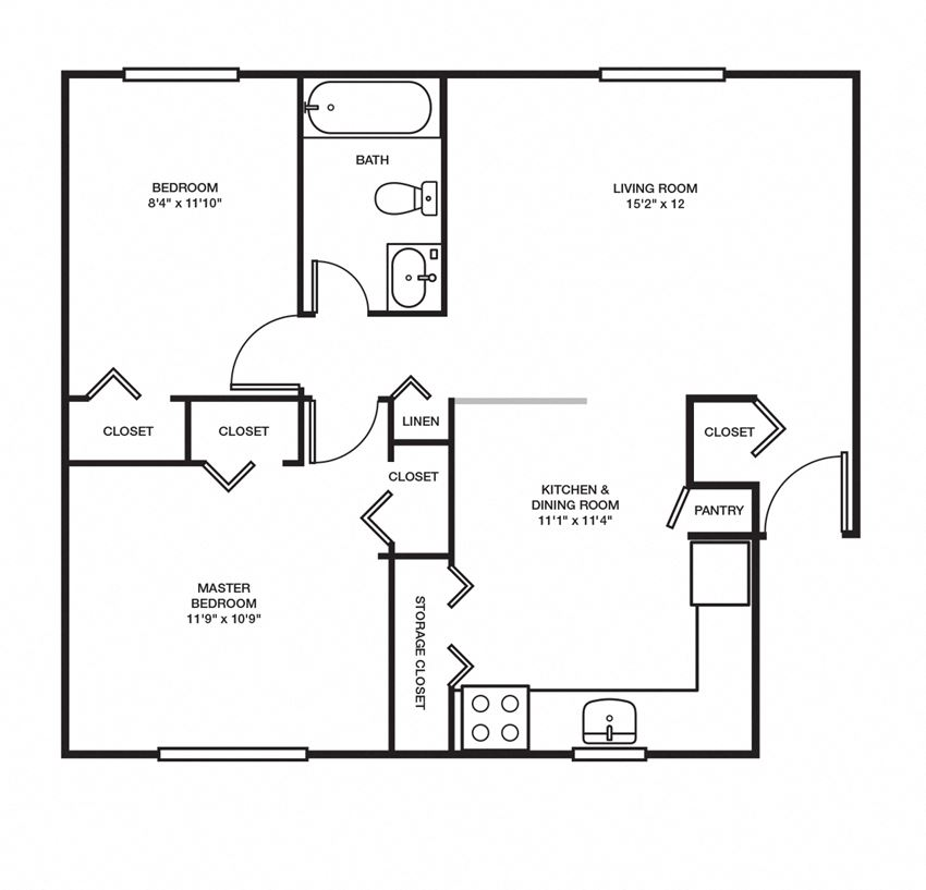 2 Bed, 1 Bath - 750 sq ft