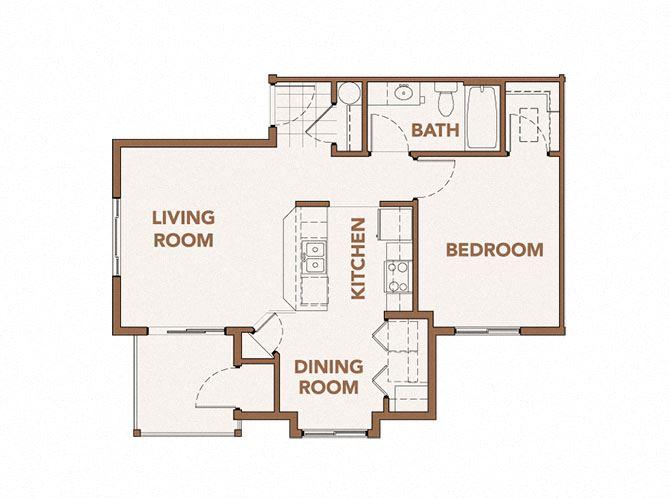 1x1 Floor Plan Vancouver, WA 98684 | Copper Lane Apartments