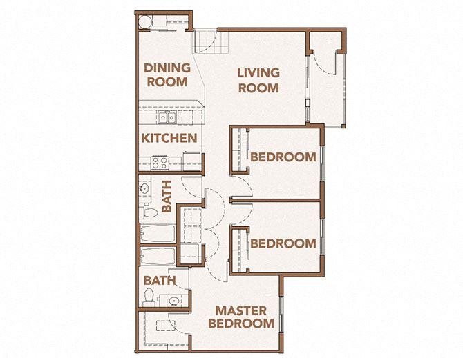 3x2 Floor Plan Vancouver, WA 98684 | Copper Lane Apartments