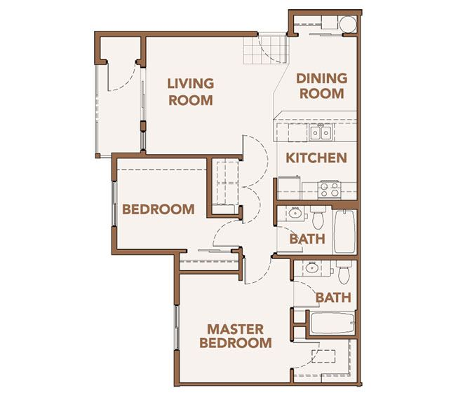 2x2 Floor Plan Vancouver, WA 98684 | Copper Lane Apartments