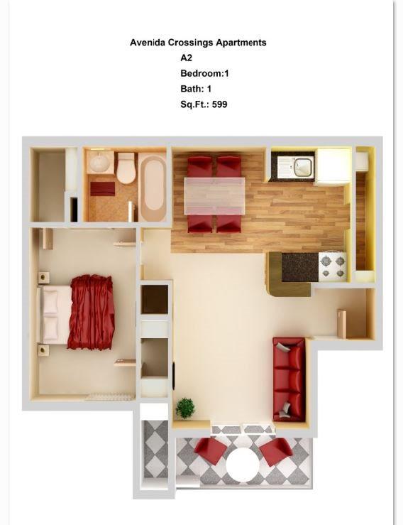 A2 1 + 1 Floor Plan 2