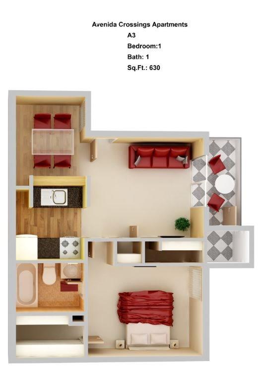 A3  1+1 Floor Plan 3