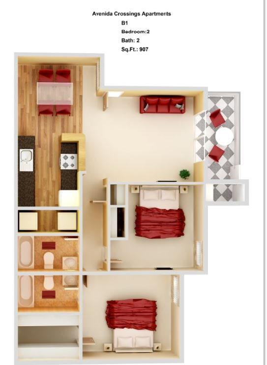B1  2+2 Floor Plan 5