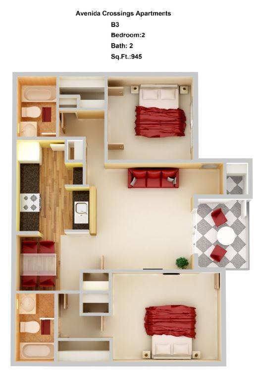 B3  2+2 Floor Plan 7