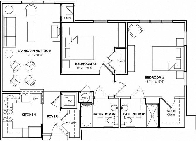 2 Bedroom Floor Plan- 2D