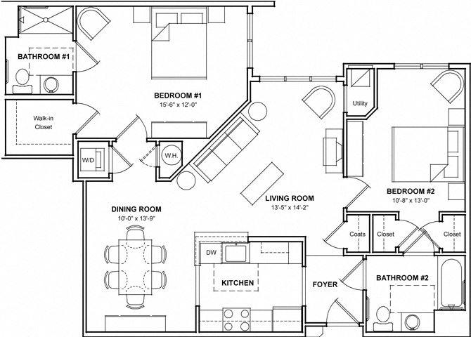 2 Bedroom Floor Plan- 2E