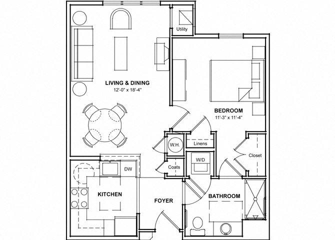 One Bedroom Floor Plan- 1A