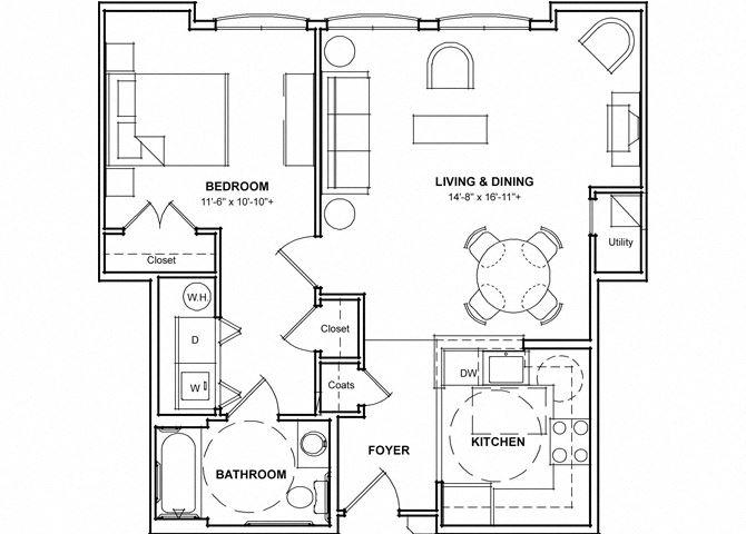 Handicap Accessible One Bedroom Floor Plan- 1B