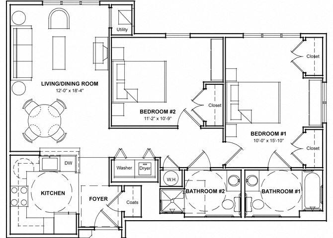 Handicap Accessible 2 Bedroom Floor Plan- 2DHC