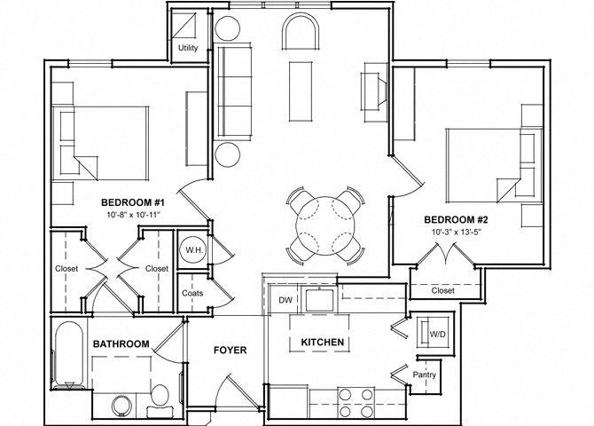 2 Bedroom Floor Plan- 2A