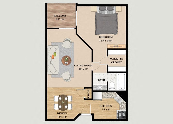 Aspen 1 Bedroom 1 Bathroom Floor Plan at Mountain Village
