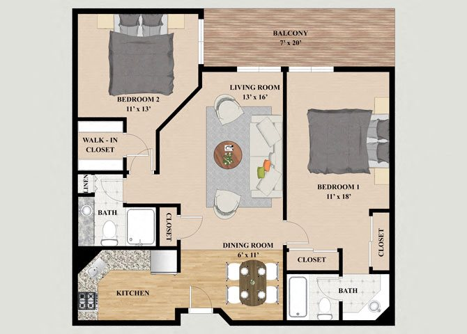 Blue Ridge 2 Bedroom 2 Bathroom Floor Plan at Mountain Village