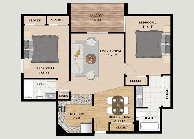 Cascade 2 Bedroom 2 Bathroom Floor Plan at Mountain Village