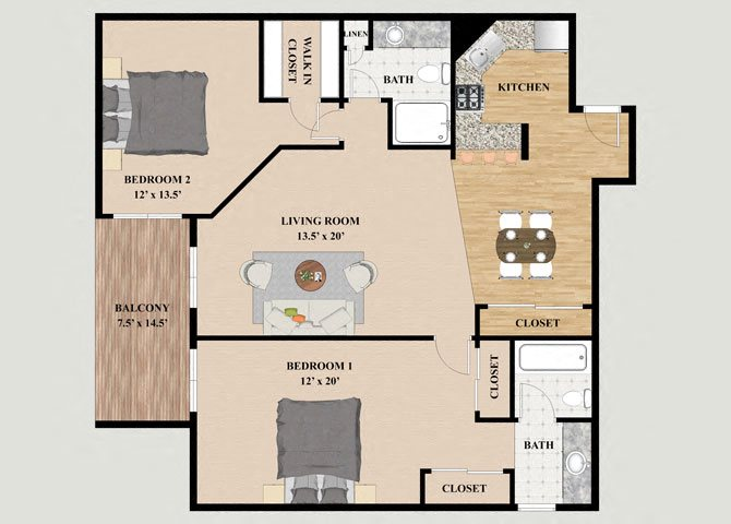 Diamondheard 2 Bedroom 2 Bathroom Floor Plan at Mountain Village