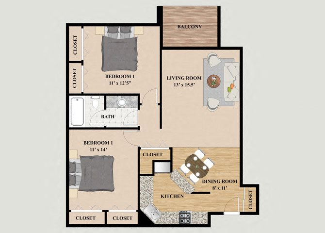 Everest 2 Bedroom 1 Bathroom Floor Plan at Mountain Village