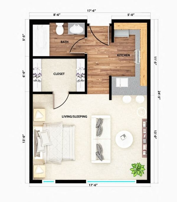 The Shasta Studio Floor Plan 1
