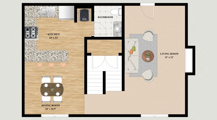 Teton 2 Bedroom 2.5 Bathroom Townhouse Floor Plan at Mountain Village