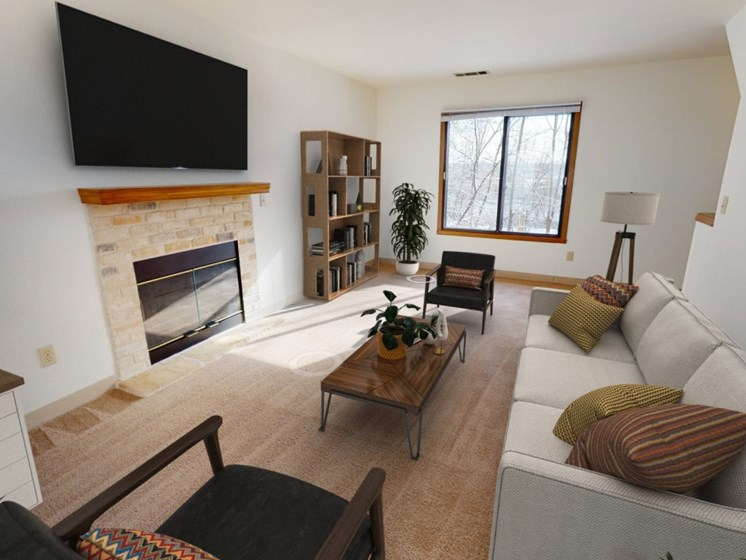 Teton living room with natural gas fireplace