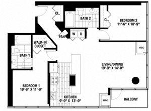 2 Bedroom. 2 Bathroom.