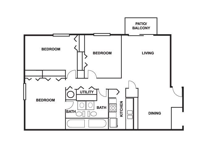3 Bed 2 Bath 1300