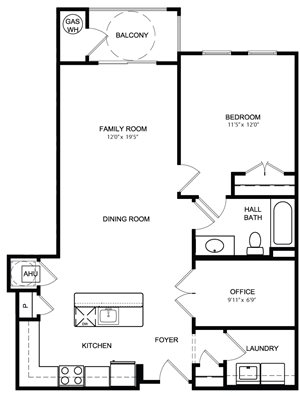 Riverwoods at Lake Ridge 1 Bedroom Floor Plan Belmont