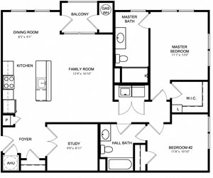 Riverwoods at Lake Ridge 2 Bedroom Floor Plan Mason
