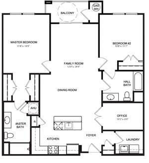 Riverwoods at Lake Ridge 2 Bedroom Floor Plan Potomac