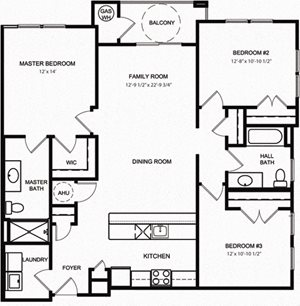 Riverwoods at Lake Ridge 3 Bedroom Floor Plan River Shore